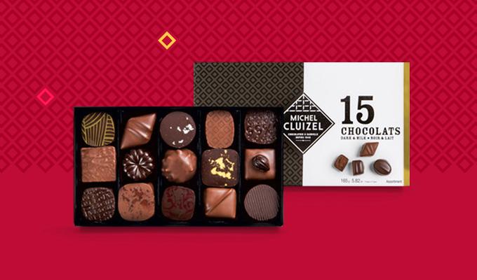 Coffret 15 chocolats noir et lait