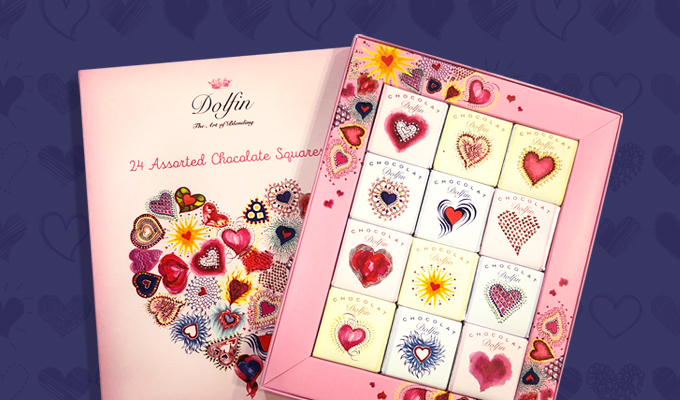 """Boîte de 24 carrés de chocolat belge """"Love"""""""