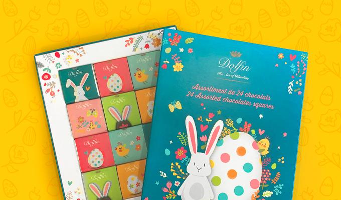 """Boîte de 24 carrés de chocolat belge """"Joyeuses Pâques"""""""