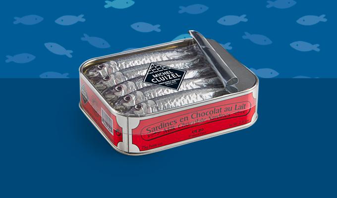 Boîte de sardines en chocolat au lait