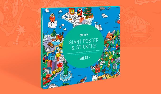 Poster carte du monde avec stickers