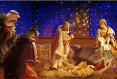 Die heiligen drei Könige kommen in Betlehem an