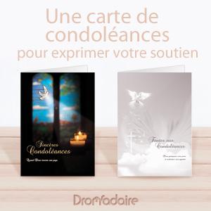 Une carte papier pour présenter vos condoléances