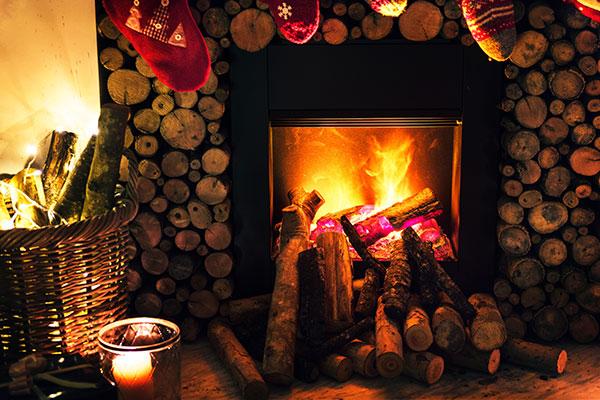 Feu de cheminée chaleureux