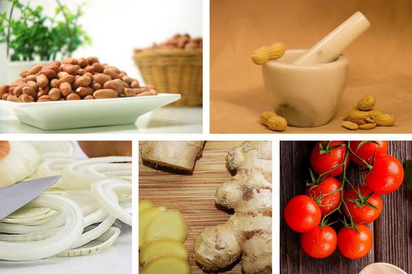 Préparation du rougail pistache à la pâte d'arachides
