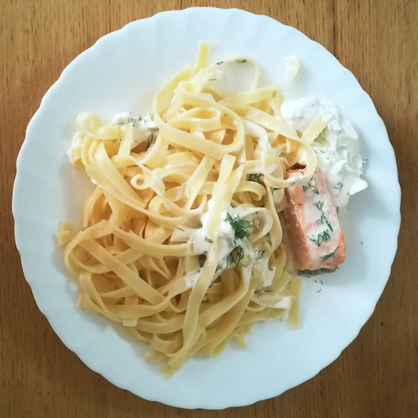 Saumon, tagliatelles et Chantilly à l'aneth