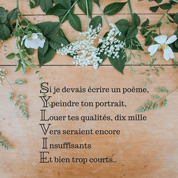 Un poème pour souhaiter bonne fête à Sylvie