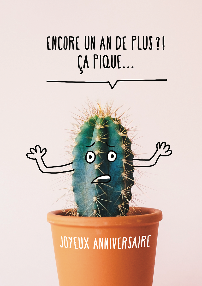 Carte papier dromadaire humour anniversaire