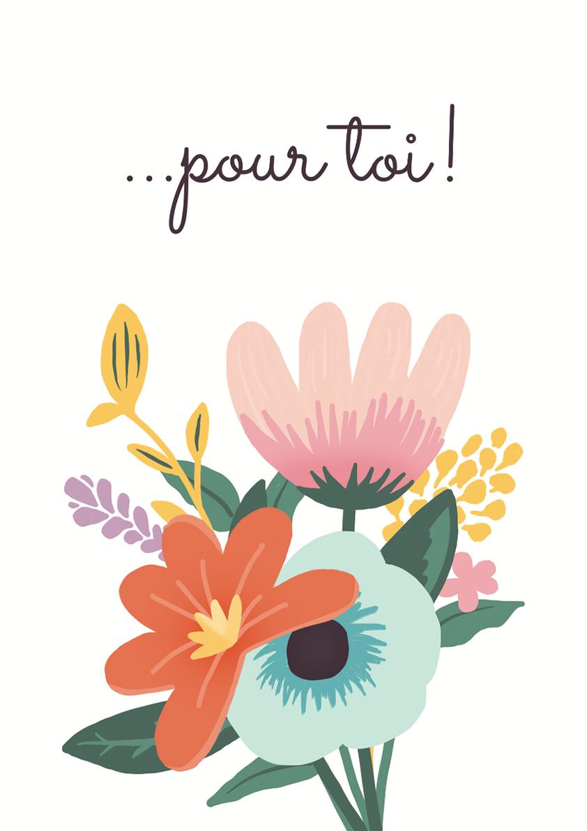Carte papier dromadaire fleurs