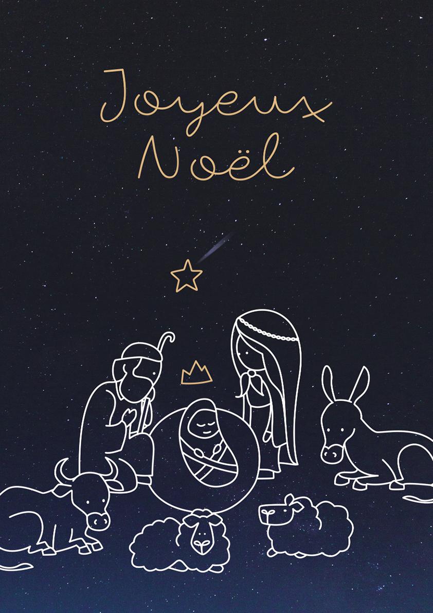 Carte papier dromadaire Noël